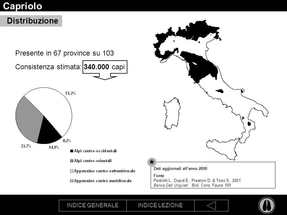 INDICE GENERALEINDICE LEZIONE Capriolo Presente in 67 province su 103 Consistenza stimata: 340.000 capi Distribuzione Dati aggiornati allanno 2000 Fonte Pedrotti L., Dupré E., Preatoni D.
