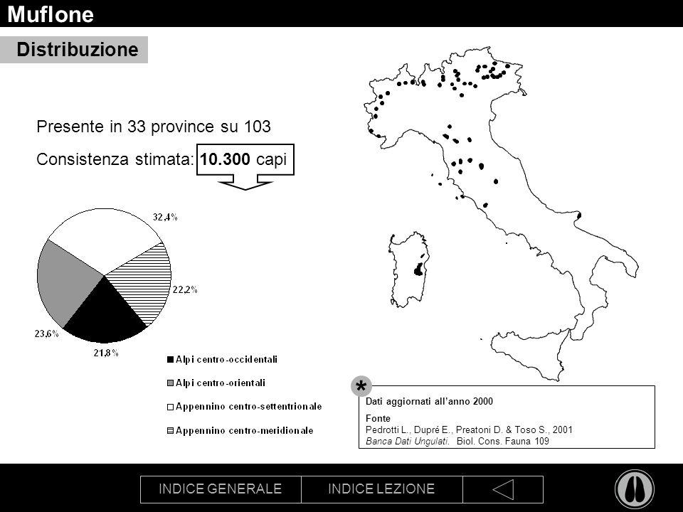 INDICE GENERALEINDICE LEZIONE Muflone Presente in 33 province su 103 Consistenza stimata: 10.300 capi Distribuzione Dati aggiornati allanno 2000 Fonte Pedrotti L., Dupré E., Preatoni D.