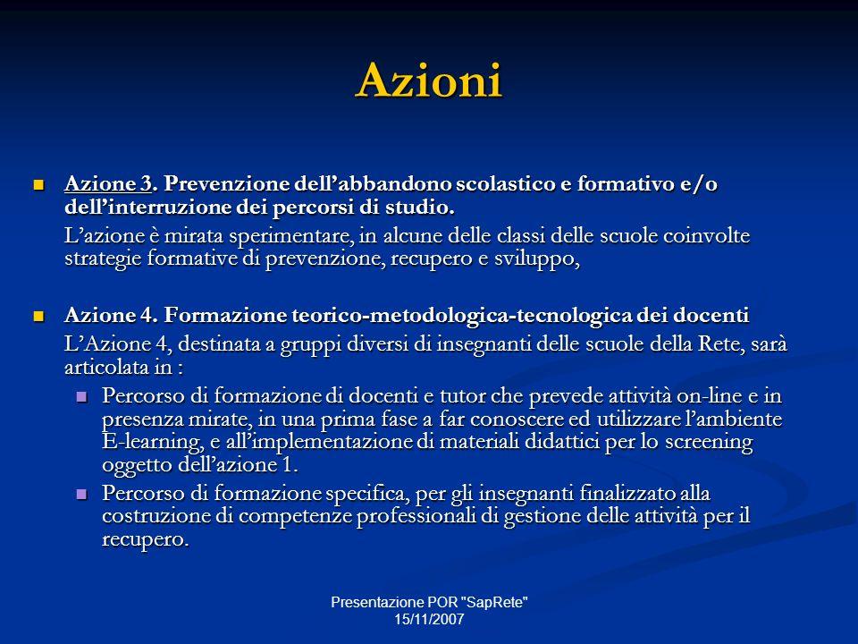 Presentazione POR SapRete 15/11/2007 Azioni Azione 3.