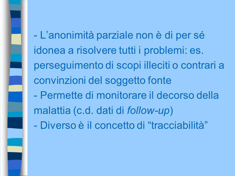 - Lanonimità parziale non è di per sé idonea a risolvere tutti i problemi: es. perseguimento di scopi illeciti o contrari a convinzioni del soggetto f