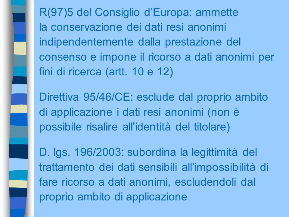 R(97)5 del Consiglio dEuropa: ammette la conservazione dei dati resi anonimi indipendentemente dalla prestazione del consenso e impone il ricorso a da