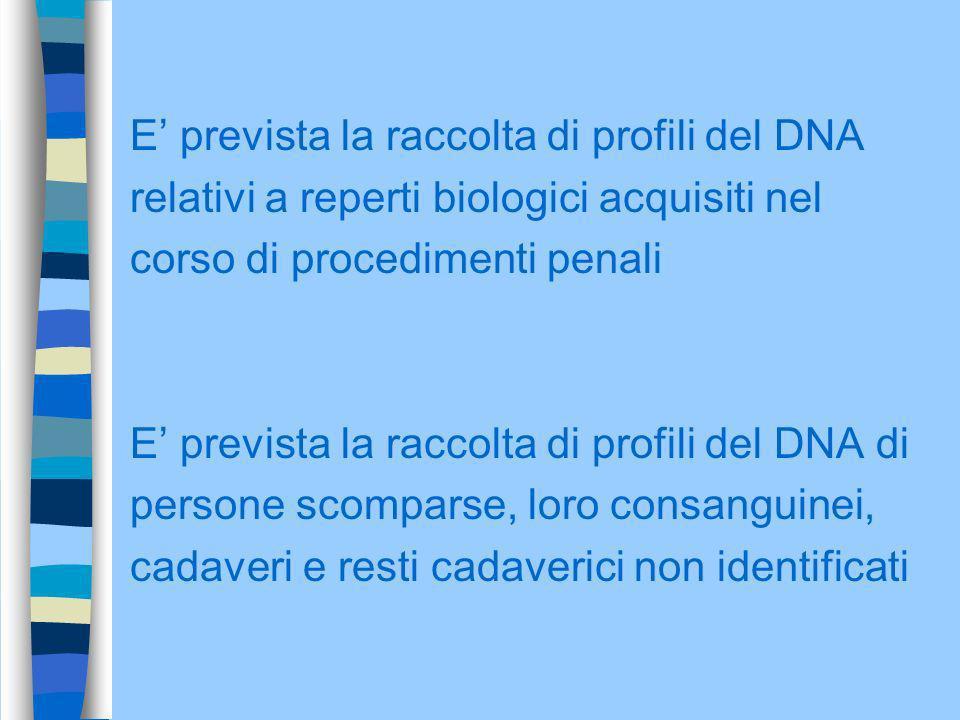 E prevista la raccolta di profili del DNA relativi a reperti biologici acquisiti nel corso di procedimenti penali E prevista la raccolta di profili de