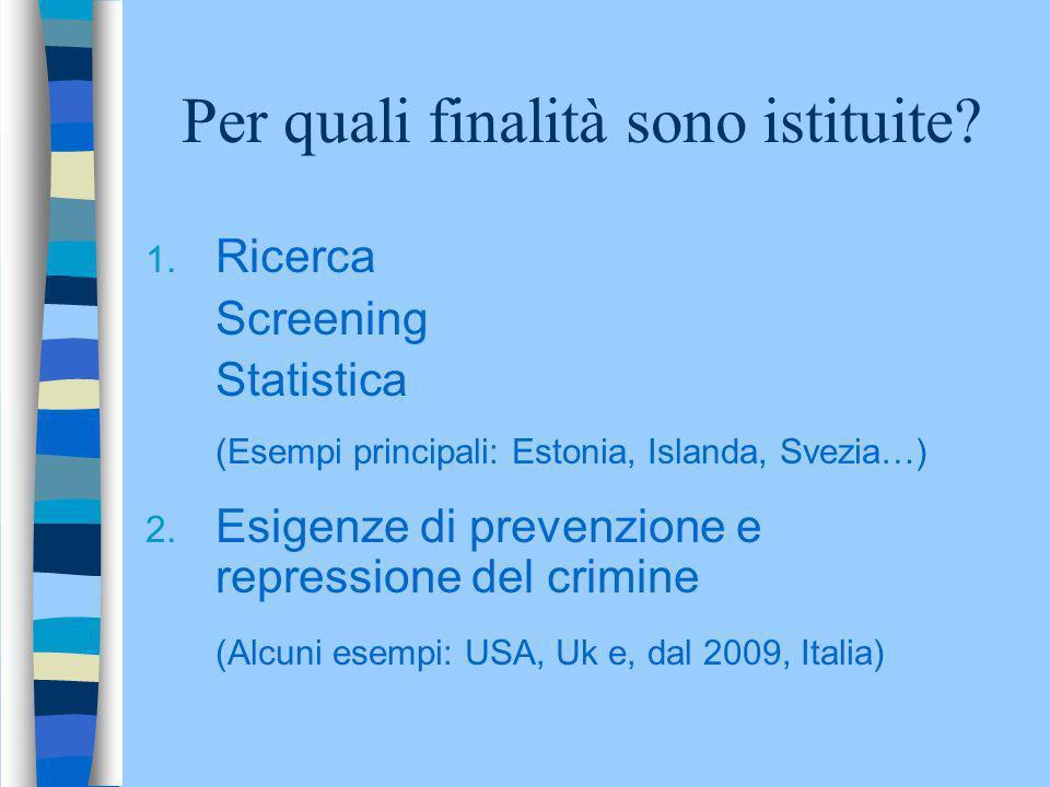 Per quali finalità sono istituite? 1. Ricerca Screening Statistica (Esempi principali: Estonia, Islanda, Svezia…) 2. Esigenze di prevenzione e repress