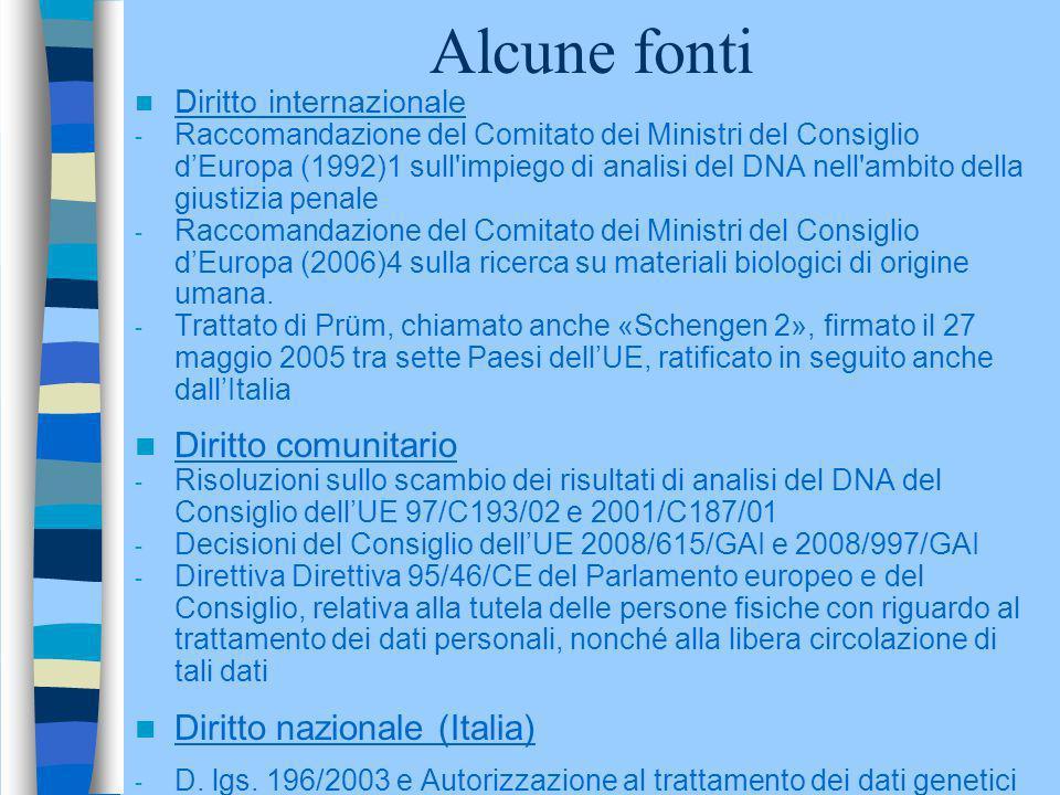 Alcune fonti Diritto internazionale - Raccomandazione del Comitato dei Ministri del Consiglio dEuropa (1992)1 sull'impiego di analisi del DNA nell'amb