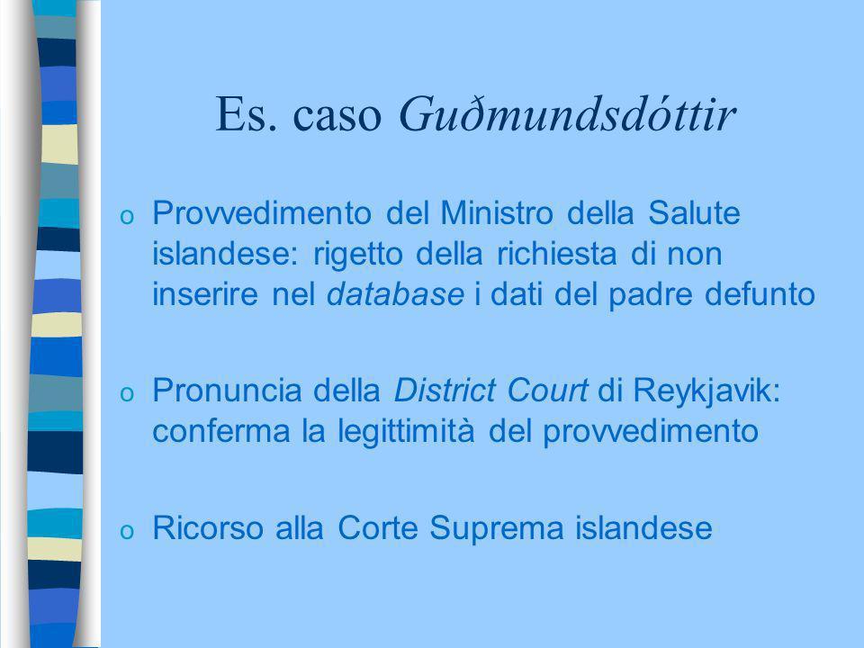 Es. caso Guðmundsdóttir o Provvedimento del Ministro della Salute islandese: rigetto della richiesta di non inserire nel database i dati del padre def