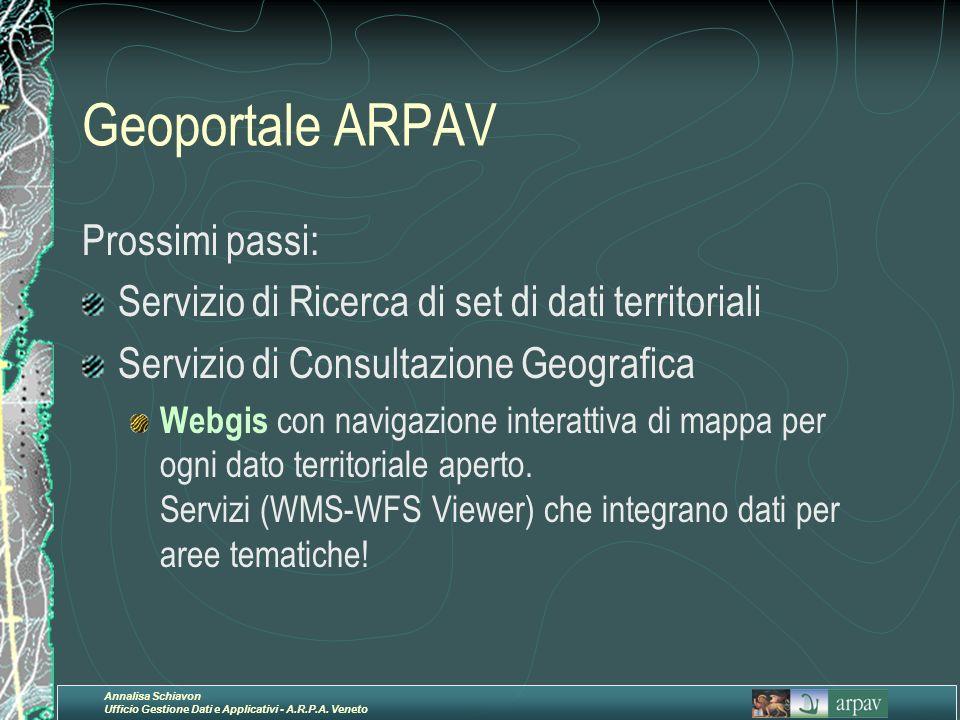 Annalisa Schiavon Ufficio Gestione Dati e Applicativi - A.R.P.A. Veneto Geoportale ARPAV Prossimi passi: Servizio di Ricerca di set di dati territoria