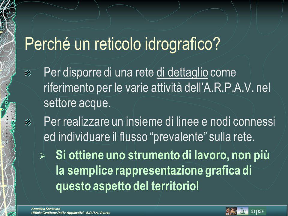 Annalisa Schiavon Ufficio Gestione Dati e Applicativi - A.R.P.A. Veneto Perché un reticolo idrografico? Per disporre di una rete di dettaglio come rif