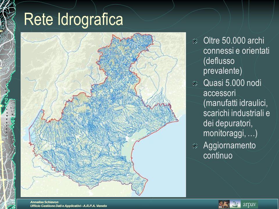 Annalisa Schiavon Ufficio Gestione Dati e Applicativi - A.R.P.A. Veneto Rete Idrografica Oltre 50.000 archi connessi e orientati (deflusso prevalente)