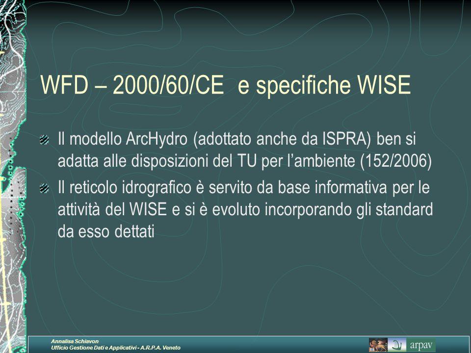 Annalisa Schiavon Ufficio Gestione Dati e Applicativi - A.R.P.A. Veneto WFD – 2000/60/CE e specifiche WISE Il modello ArcHydro (adottato anche da ISPR