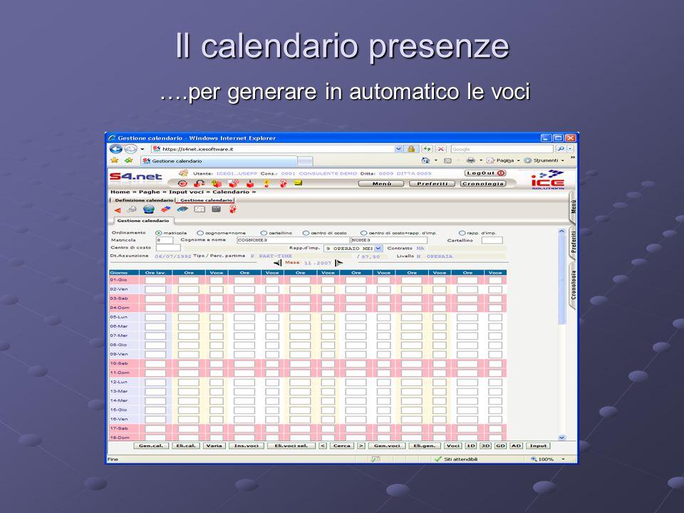 Il calendario presenze ….per generare in automatico le voci