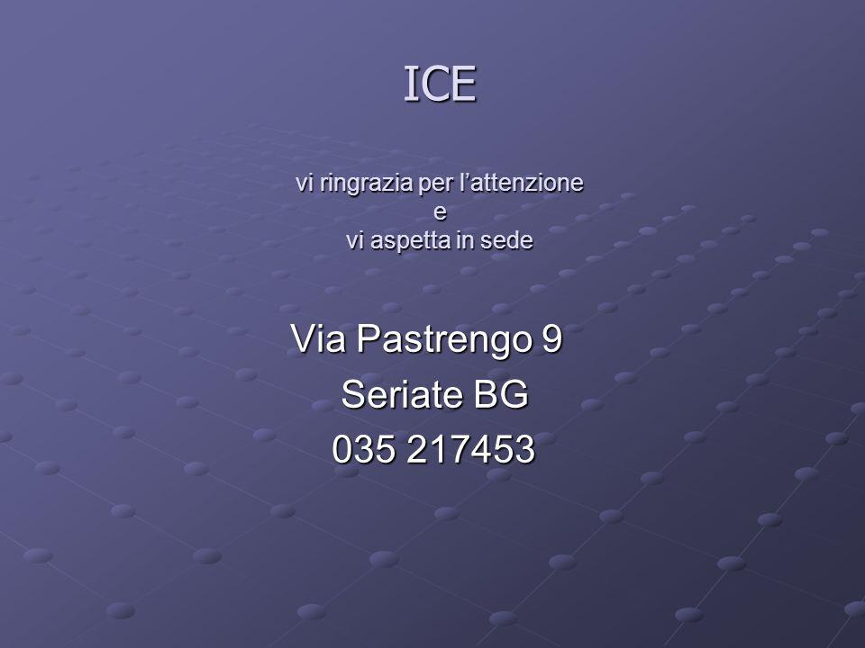ICE vi ringrazia per lattenzione e vi aspetta in sede Via Pastrengo 9 Via Pastrengo 9 Seriate BG Seriate BG 035 217453