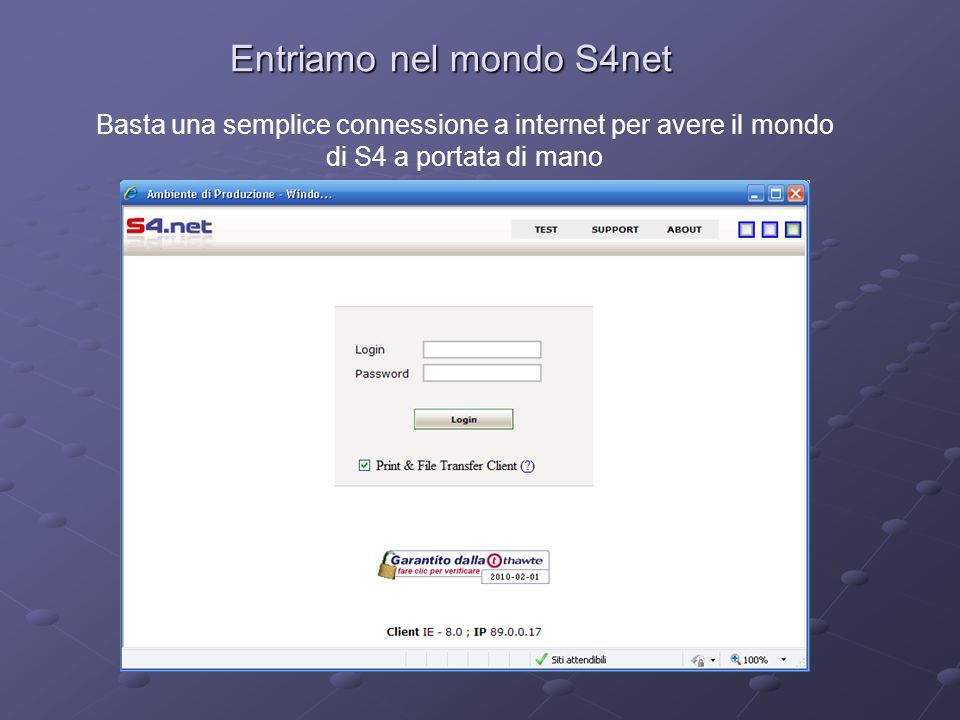 Entriamo nel mondo S4net Basta una semplice connessione a internet per avere il mondo di S4 a portata di mano