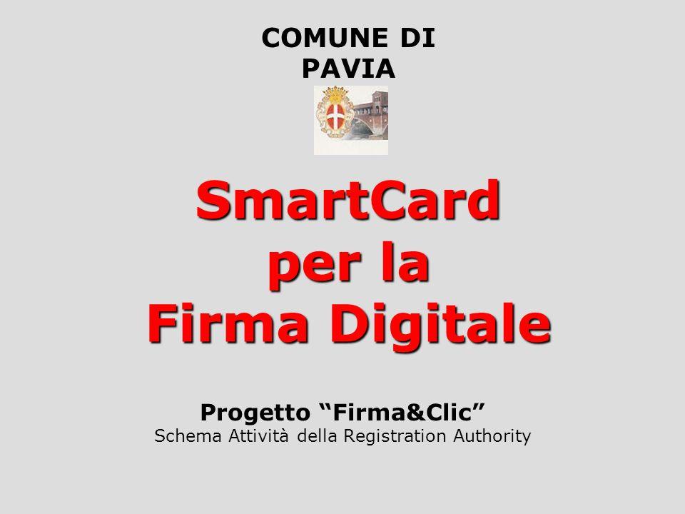 SmartCard per la Firma Digitale Progetto Firma&Clic Schema Attività della Registration Authority COMUNE DI PAVIA