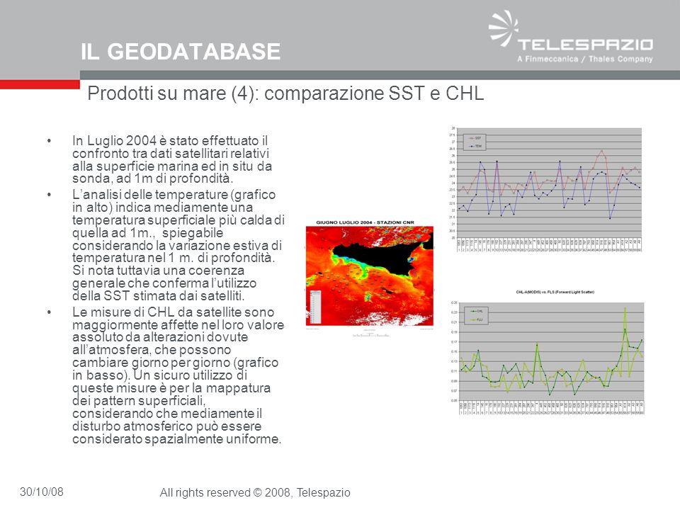 30/10/08All rights reserved © 2008, Telespazio IL GEODATABASE Prodotti su mare (4): comparazione SST e CHL In Luglio 2004 è stato effettuato il confro