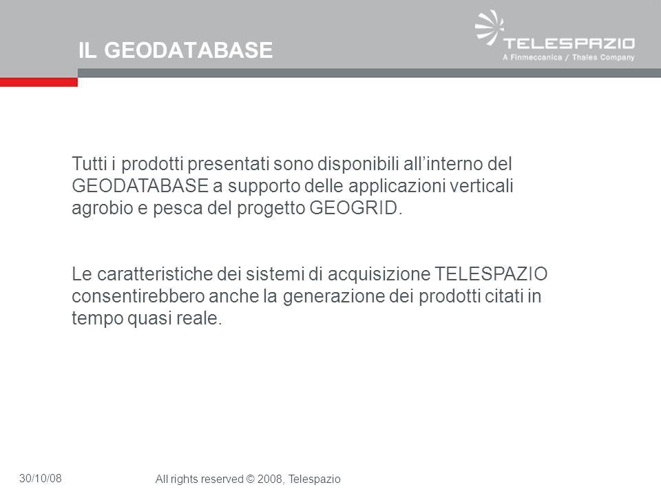 30/10/08All rights reserved © 2008, Telespazio IL GEODATABASE Tutti i prodotti presentati sono disponibili allinterno del GEODATABASE a supporto delle