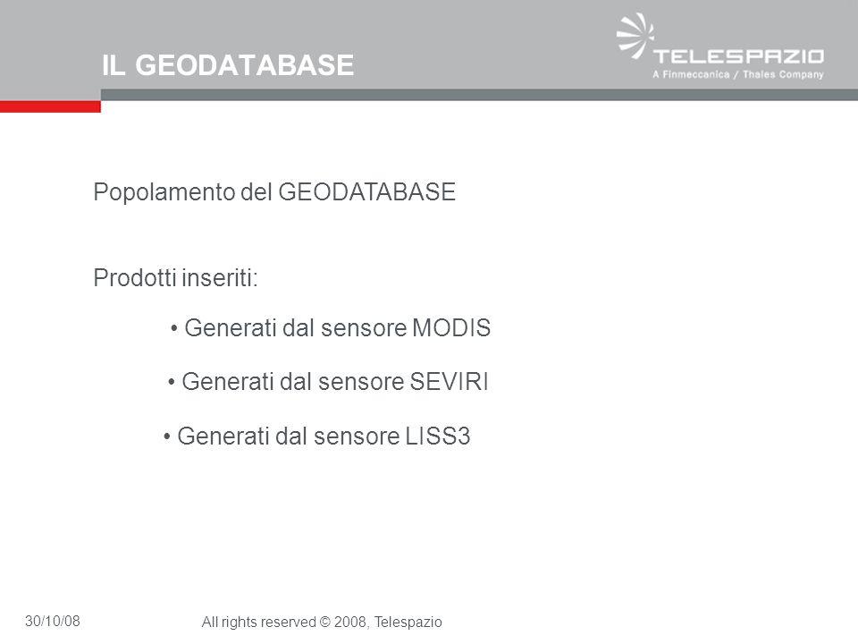 30/10/08All rights reserved © 2008, Telespazio IL GEODATABASE Popolamento del GEODATABASE Prodotti inseriti: Generati dal sensore MODIS Generati dal s