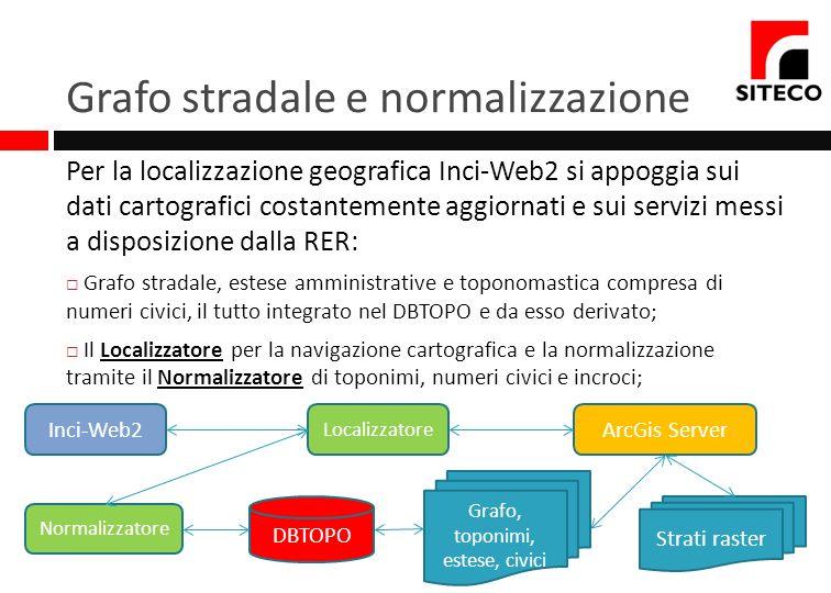 Grafo stradale e normalizzazione Per la localizzazione geografica Inci-Web2 si appoggia sui dati cartografici costantemente aggiornati e sui servizi m