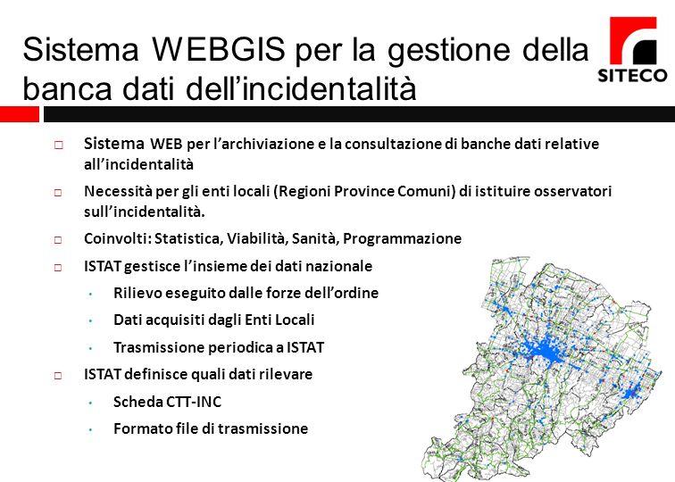 Sistema WEBGIS per la gestione della banca dati dellincidentalità Sistema WEB per larchiviazione e la consultazione di banche dati relative allinciden
