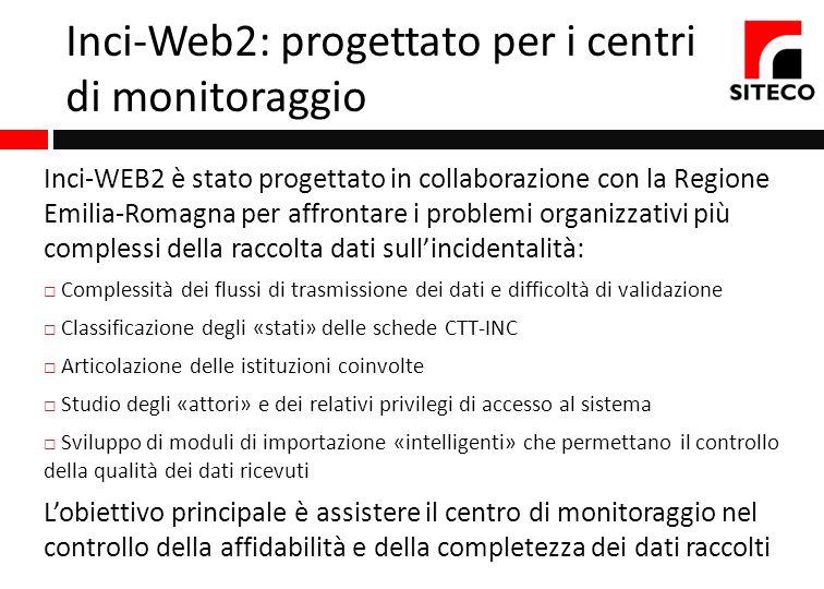 Inci-Web2: progettato per i centri di monitoraggio Inci-WEB2 è stato progettato in collaborazione con la Regione Emilia-Romagna per affrontare i probl