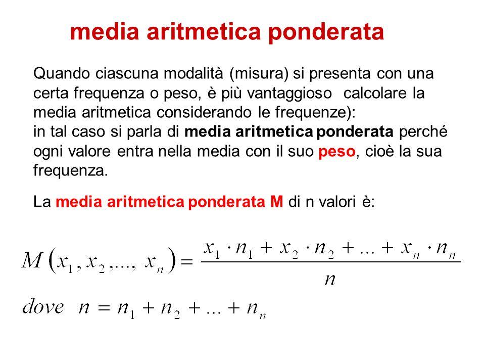 media aritmetica ponderata Quando ciascuna modalità (misura) si presenta con una certa frequenza o peso, è più vantaggioso calcolare la media aritmeti