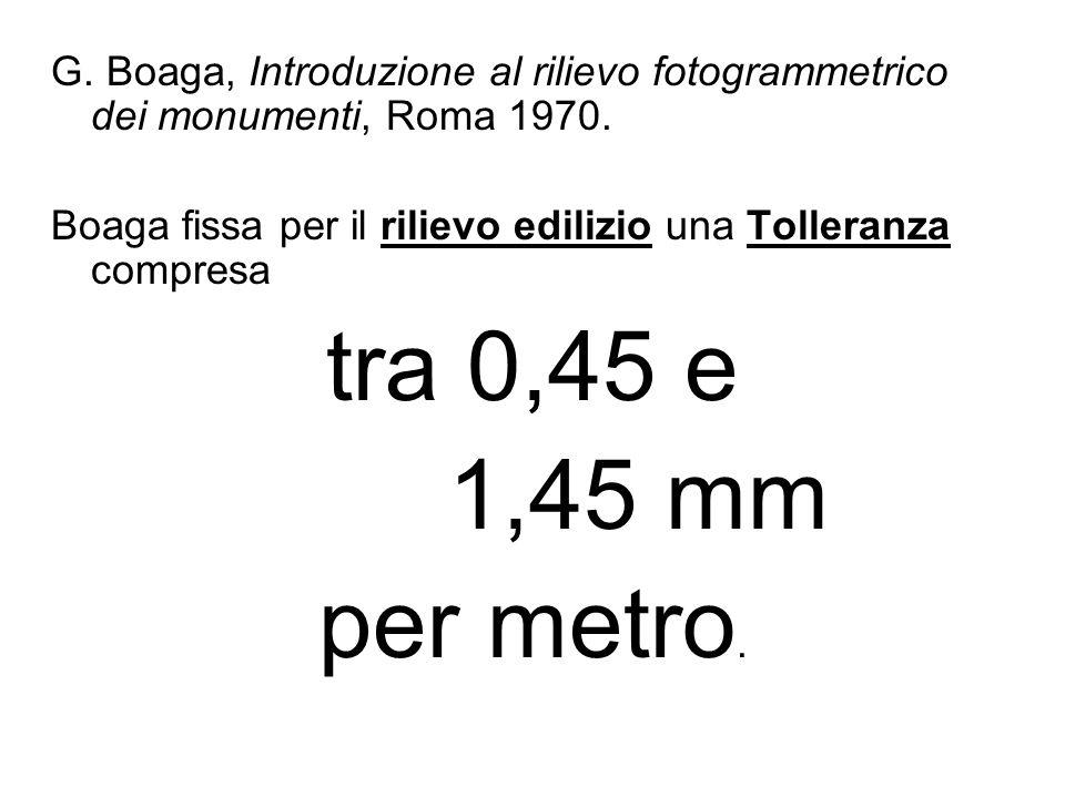 G. Boaga, Introduzione al rilievo fotogrammetrico dei monumenti, Roma 1970. Boaga fissa per il rilievo edilizio una Tolleranza compresa tra 0,45 e 1,4