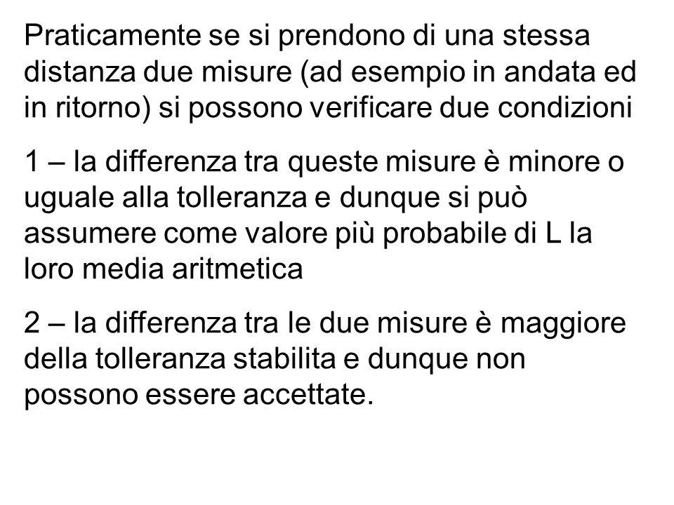Praticamente se si prendono di una stessa distanza due misure (ad esempio in andata ed in ritorno) si possono verificare due condizioni 1 – la differe