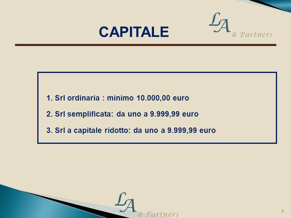 6 6 1. Srl ordinaria : nessun vincolo 2. Srl semplificata: uno o più soci 3. Srl a capitale ridotto: solo persone fisiche anche non soci AMMINISTRAZIO