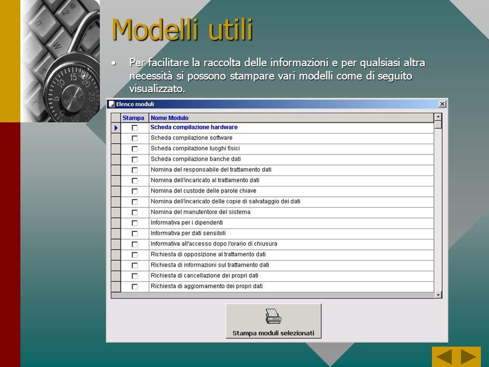 Scadenze La procedura prevede inoltre una stampa per ricordare le scadenze relative agli incarichi e alle password dei computerLa procedura prevede inoltre una stampa per ricordare le scadenze relative agli incarichi e alle password dei computer