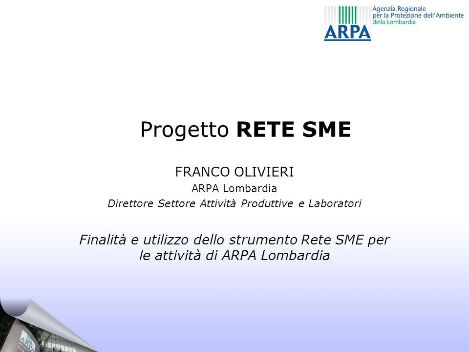 Progetto RETE SME FRANCO OLIVIERI ARPA Lombardia Direttore Settore Attività Produttive e Laboratori Finalità e utilizzo dello strumento Rete SME per l
