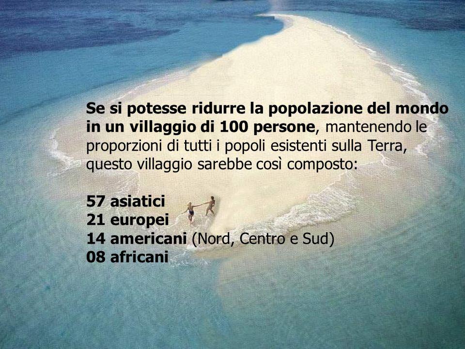 Se si potesse ridurre la popolazione del mondo in un villaggio di 100 persone, mantenendo le proporzioni di tutti i popoli esistenti sulla Terra, ques