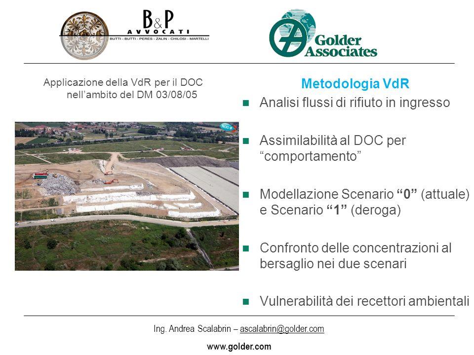 Ing. Andrea Scalabrin – ascalabrin@golder.com www.golder.com Applicazione della VdR per il DOC nellambito del DM 03/08/05 Metodologia VdR Analisi flus