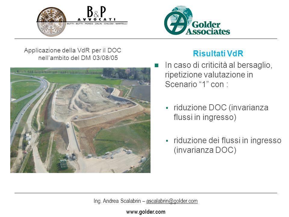 Ing. Andrea Scalabrin – ascalabrin@golder.com www.golder.com Applicazione della VdR per il DOC nellambito del DM 03/08/05 Risultati VdR In caso di cri