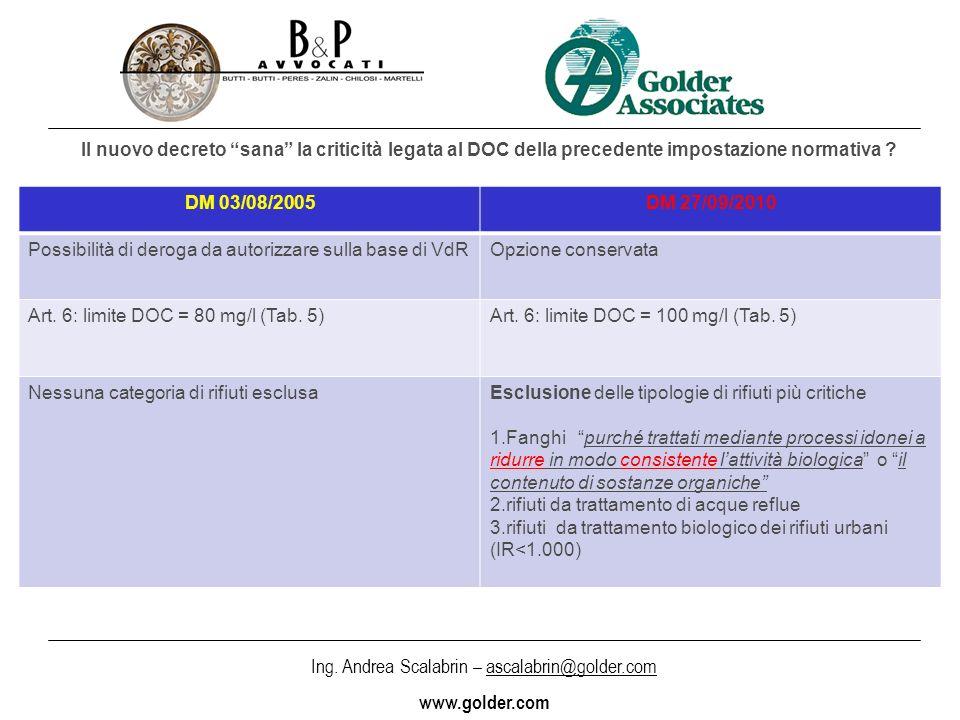 Ing. Andrea Scalabrin – ascalabrin@golder.com www.golder.com Il nuovo decreto sana la criticità legata al DOC della precedente impostazione normativa