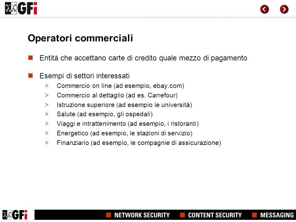 Operatori commerciali Entità che accettano carte di credito quale mezzo di pagamento Esempi di settori interessati >Commercio on line (ad esempio, eba