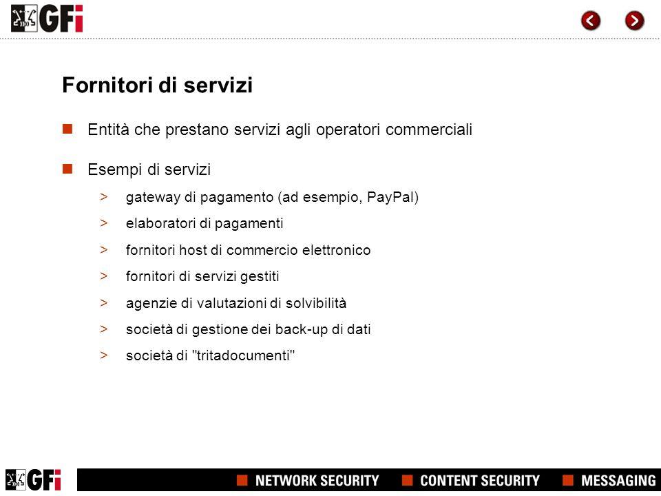 Fornitori di servizi Entità che prestano servizi agli operatori commerciali Esempi di servizi >gateway di pagamento (ad esempio, PayPal) >elaboratori