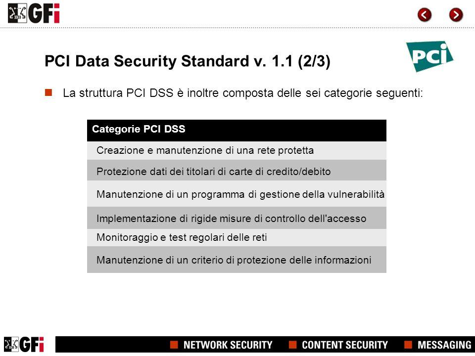 PCI Data Security Standard v. 1.1 (2/3) Categorie PCI DSS La struttura PCI DSS è inoltre composta delle sei categorie seguenti: Creazione e manutenzio