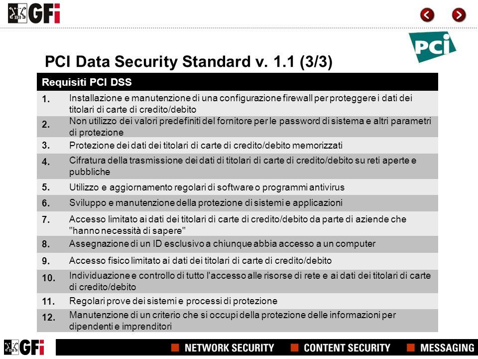 PCI Data Security Standard v. 1.1 (3/3) Requisiti PCI DSS 1. 2. 3. 4. 5. 6. 7. 8. 9. 10. 11. 12. Installazione e manutenzione di una configurazione fi