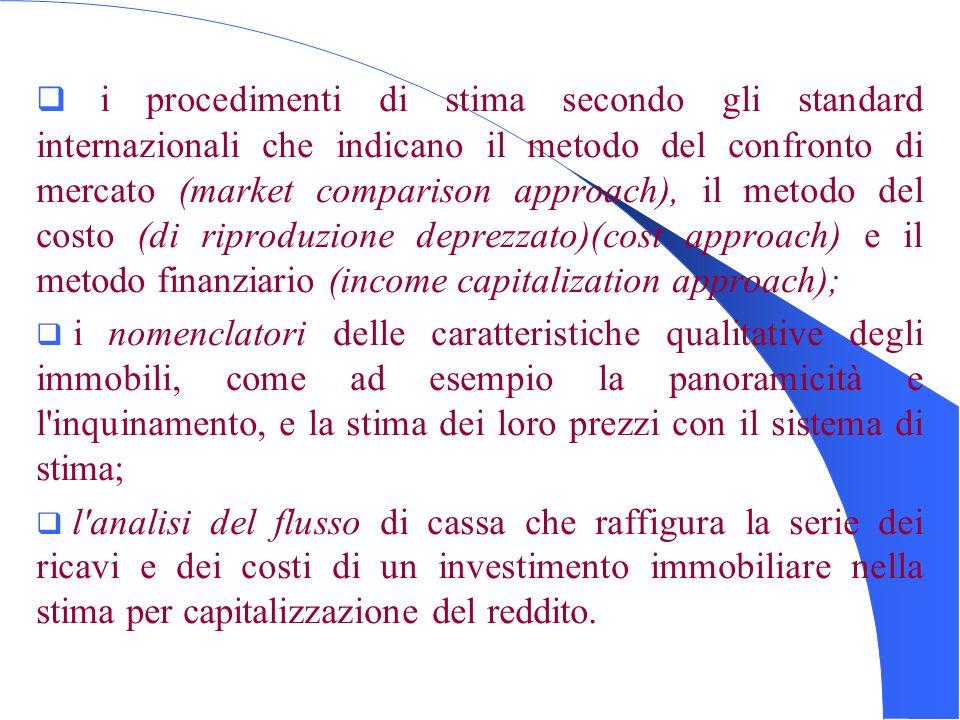 i procedimenti di stima secondo gli standard internazionali che indicano il metodo del confronto di mercato (market comparison approach), il metodo de