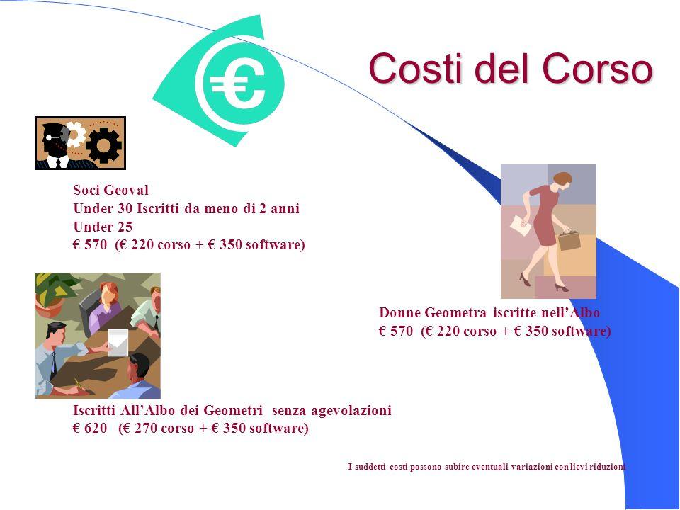 Costi del Corso Costi del Corso Soci Geoval Under 30 Iscritti da meno di 2 anni Under 25 570 ( 220 corso + 350 software) Donne Geometra iscritte nellA
