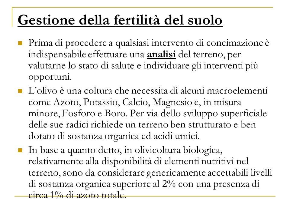 Gestione della fertilità del suolo Prima di procedere a qualsiasi intervento di concimazione è indispensabile effettuare una analisi del terreno, per