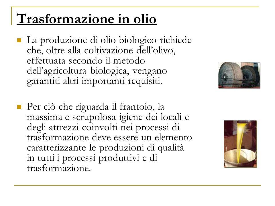 Trasformazione in olio La produzione di olio biologico richiede che, oltre alla coltivazione dellolivo, effettuata secondo il metodo dellagricoltura b