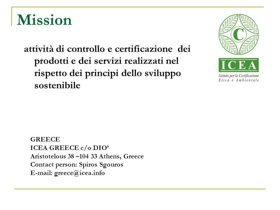Mission attività di controllo e certificazione dei prodotti e dei servizi realizzati nel rispetto dei principi dello sviluppo sostenibile GREECE ICEA