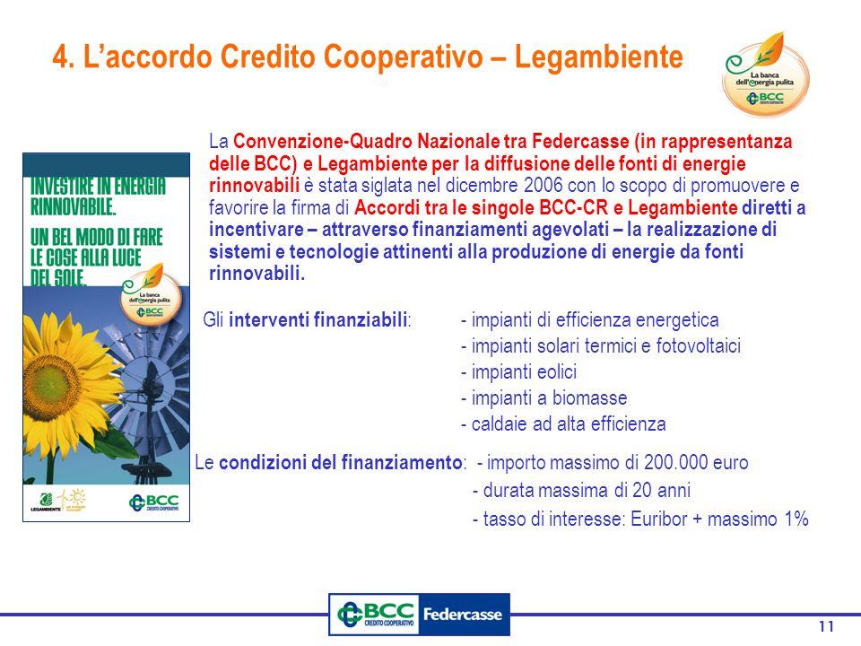 11 4. Laccordo Credito Cooperativo – Legambiente La Convenzione-Quadro Nazionale tra Federcasse (in rappresentanza delle BCC) e Legambiente per la dif