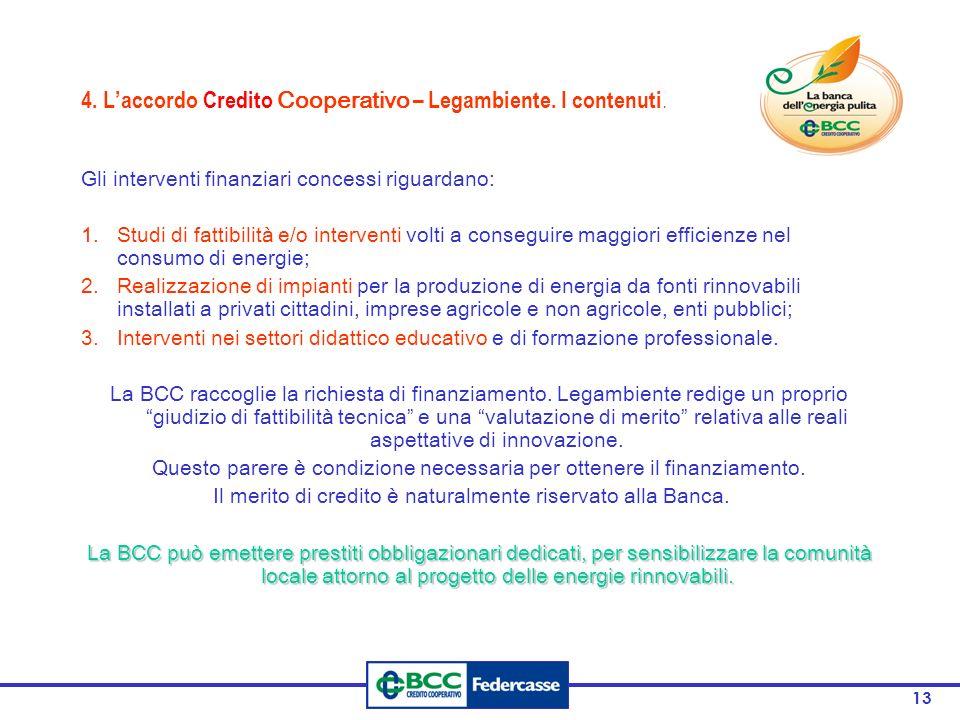 13 4. Laccordo Credito Cooperativo – Legambiente. I contenuti. Gli interventi finanziari concessi riguardano: 1.Studi di fattibilità e/o interventi vo