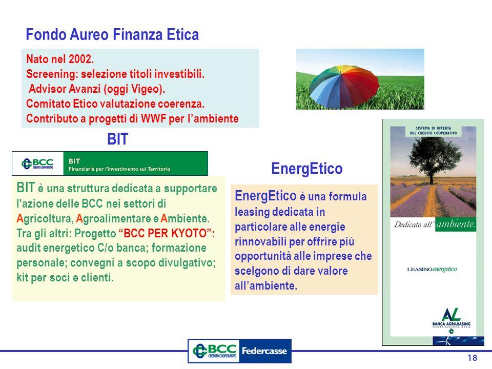 18 Nato nel 2002. Screening: selezione titoli investibili. Advisor Avanzi (oggi Vigeo). Comitato Etico valutazione coerenza. Contributo a progetti di