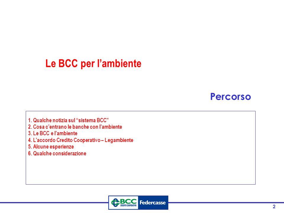 2 1. Qualche notizia sul sistema BCC 2. Cosa centrano le banche con lambiente 3. Le BCC e lambiente 4. Laccordo Credito Cooperativo – Legambiente 5. A
