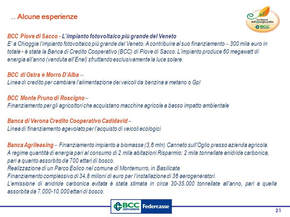 21 BCC Piove di Sacco - Limpianto fotovoltaico più grande del Veneto E a Chioggia limpianto fotovoltaico più grande del Veneto. A contribuire al suo f
