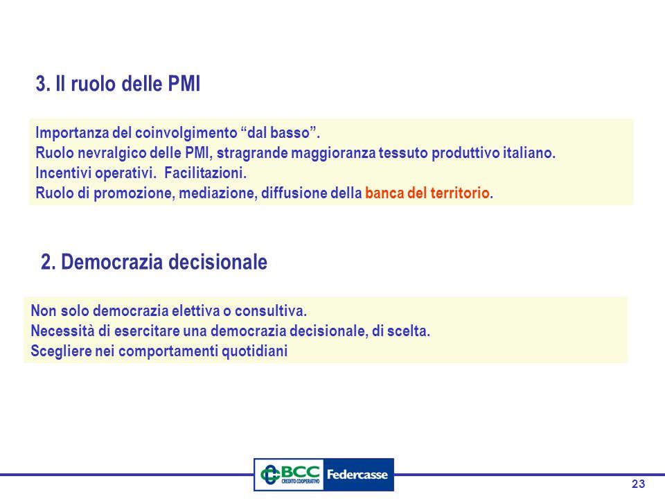 23 2. Democrazia decisionale Non solo democrazia elettiva o consultiva. Necessità di esercitare una democrazia decisionale, di scelta. Scegliere nei c
