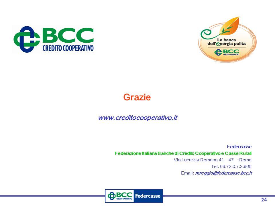 24 Grazie www.creditocooperativo.it Federcasse Federazione Italiana Banche di Credito Cooperativo e Casse Rurali Via Lucrezia Romana 41 – 47 - Roma Te