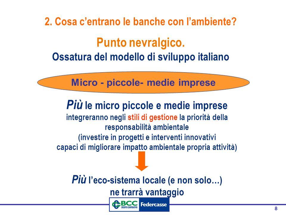 8 Punto nevralgico. Ossatura del modello di sviluppo italiano Micro - piccole- medie imprese Più le micro piccole e medie imprese integreranno negli s
